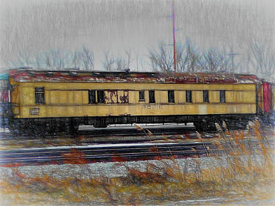 Digital Art - Faded Glory - Penn Central Passenger Car by Leslie Montgomery