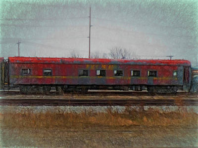 Digital Art - Faded Glory - Rock Island Pullman Car by Leslie Montgomery