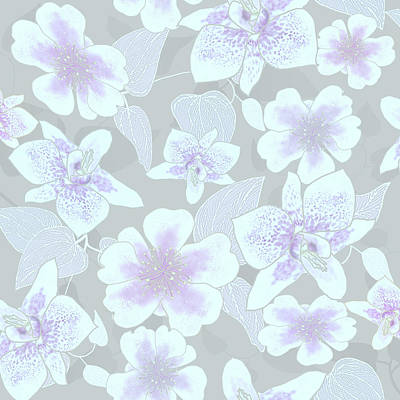Digital Art - Faded Gray Spotted Orchids by Karen Dyson