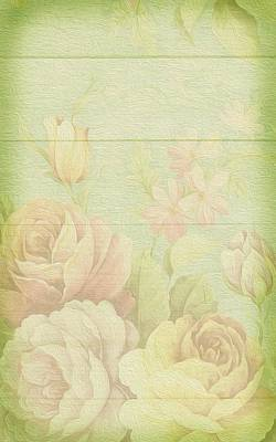 Painting - Faded Pastel Roses On Wood by Shabby Chic Art