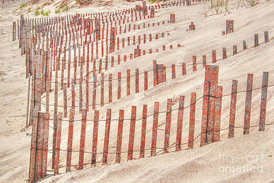 Digital Art - Faded Red Beach Fence  by Randy Steele