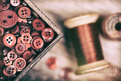 Tailor Photograph - Faded Retro Styled Red Buttons And Thread by Jane Rix