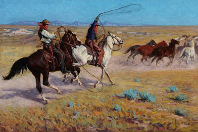 Richard Lorenz Painting - Fading Horses  by Celestial Images