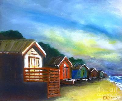 Beach Painting - Beach Huts - Sold At Downlands Art Exhibition  by Therese Alcorn