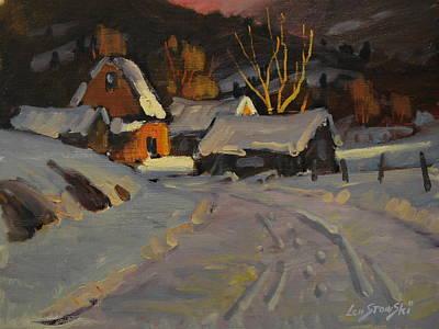 Farm And Barns Painting - Fading Sun by Len Stomski