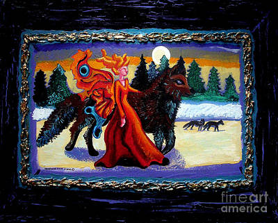 Moon Fairies Blue Snow Woman Painting - Faerie And Wolf by Genevieve Esson