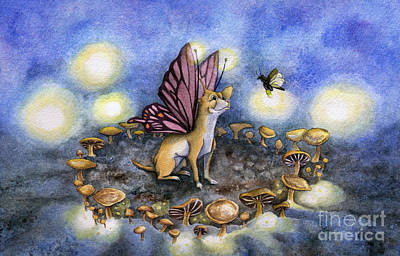 Mushrooms Painting - Faerie Dog Meets In The Faerie Circle by Antony Galbraith