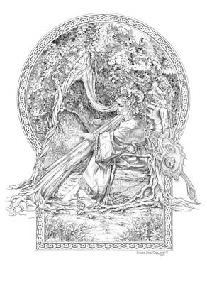 Paul Drawing - Faerie IIi - Woodland Opus - A Legendary Hidden Creation Series by Steven Paul Carlson