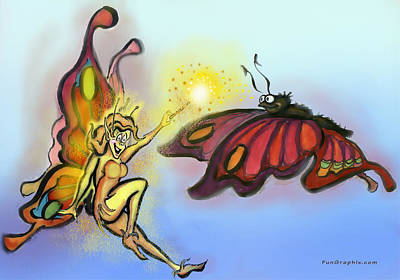 Faeries Painting - Faerie N Butterfly by Kevin Middleton