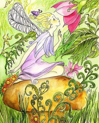Art Print featuring the painting Faery On A Mushroom by Nadine Dennis