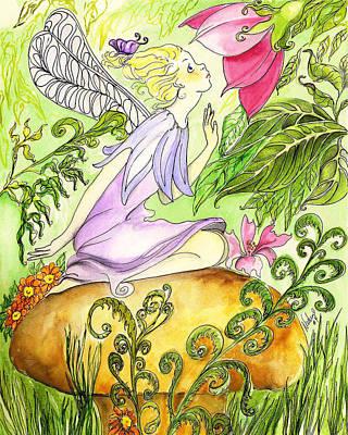Faery On A Mushroom Art Print