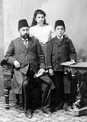 Photograph - Faidi Al Alami With His Children by Munir Alawi