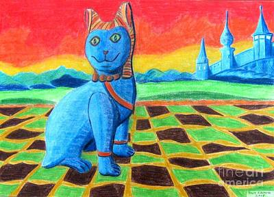 Dave Drawing - Faience Cat  by Dave Edwards