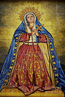 Faience Mural Depicting The Virgin Mary On A Wall Print by Sami Sarkis