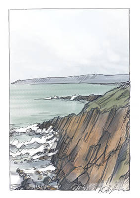 Painting - Fallmore Cliffs Looking Towards Aranmore Island by Kevin Gallagher