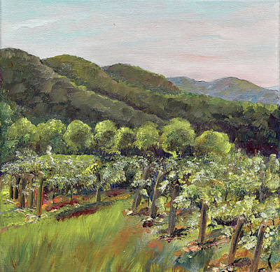 Painting - Fainting Goat Valley - Vineyards -  Jasper, Ga by Jan Dappen