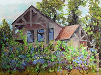 Winery Painting - Fainting Goat Vineyard Through The Vines by Jan Dappen