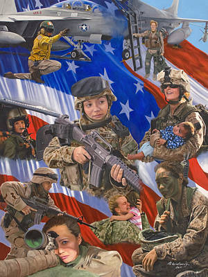 Helicopters Painting - Fair Faces Of Courage by Karen Wilson