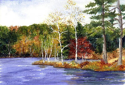Maine Painting - Fair Haven In Fall by Laura Tasheiko