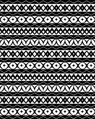 Fair Isle Black And White Art Print