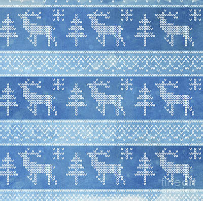 Painting - Fair Isle Pattern Deer With Trees by Audrey Jeanne Roberts