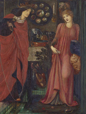 Fair Rosamund And Queen Eleanor Art Print by Edward Burne-Jones