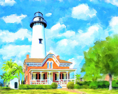 Art Print featuring the painting Fair Weather On St Simons Island - Georgia Lighthouses by Mark Tisdale