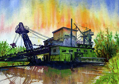 Painting - Fairbanks Alaska Gold Dredge 8 by John D Benson