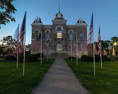 Photograph - Fairbury Nebraska Avenue Of Flags - September 11 2016 by Art Whitton