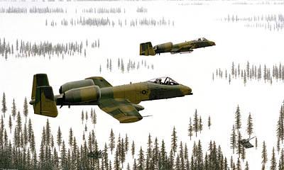 Airplane Digital Art - Fairchild Republic A-10 Thunderbolt II by Super Lovely