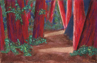 Pastel - Fairfax Redwoods by Anne Katzeff