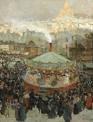Painting - Fairground With The Sacre-coeur In The Background by Louis Abel-Truchet