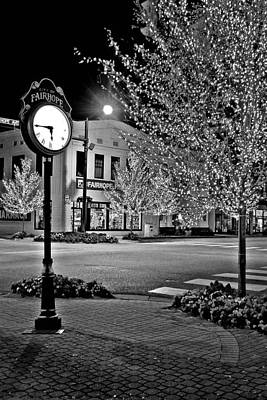 Photograph - Fairhope Alabama Clock Night Lights by Michael Thomas