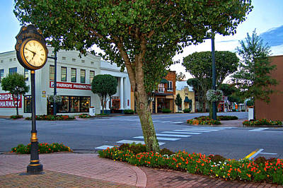Fairhope Ave With Clock Art Print