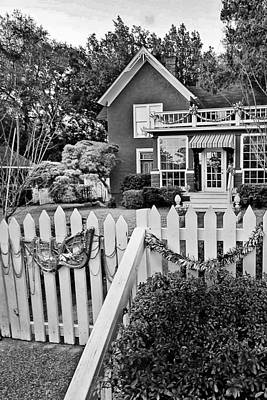 Photograph - Fairhope Mardi Gras House Bw by Michael Thomas