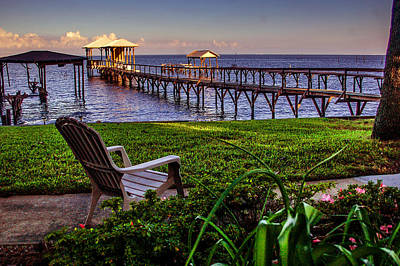 Photograph - Fairhope Pier And Chair View Of Mobile Bay by Michael Thomas