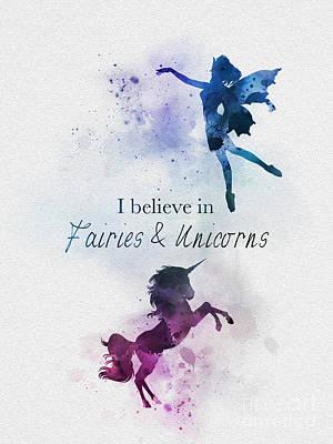 Mixed Media - Fairies And Unicorns by Rebecca Jenkins