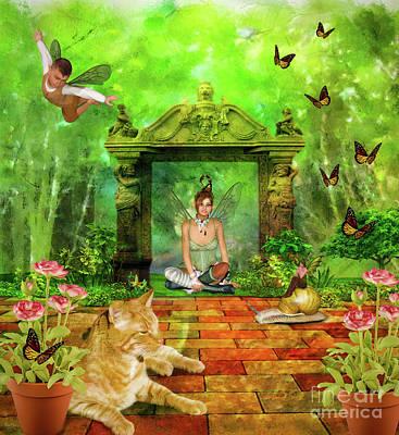 Little Girls Mixed Media - Fairies In The Garden by KaFra Art
