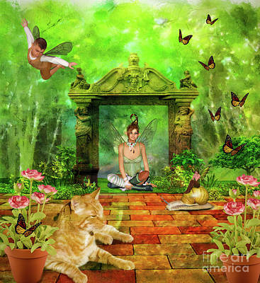 Little Girl Mixed Media - Fairies In The Garden by KaFra Art