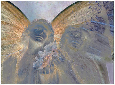 Fairies With White Flowers Art Print by Heike Schenk-Arena