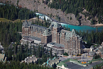 Chateau Photograph - Fairmont Banff Springs Hotel With The Bow River Falls Banff Alberta Canada by George Oze