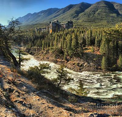 Photograph - Fairmont Banff Springs Over The Bow River by Adam Jewell