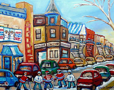 Montreal Streets Painting - Fairmount Bagel And Hockey by Carole Spandau