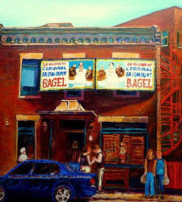 Montreal Cityscenes Painting - Fairmount Bagel By Montreal Streetscene Painter Carole  Spandau by Carole Spandau
