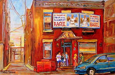 Hockey Painting - Fairmount Bagel Montreal Street Scene Painting by Carole Spandau