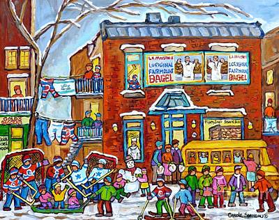 Painting - Fairmount Bagel Winter Playground Street Scene Hockey Schoolbus Montreal Memories Carole Spandau     by Carole Spandau