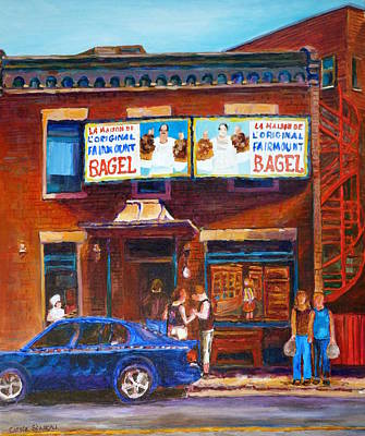 Painting - Fairmount Bagel With Blue Car  by Carole Spandau