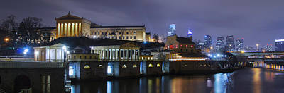 Fairmount Waterworks And Art Museum At Night Art Print by Bill Cannon