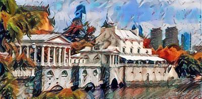 Phillies Digital Art - Fairmount Waterworks In Philadelphia Watercolor by Bill Cannon