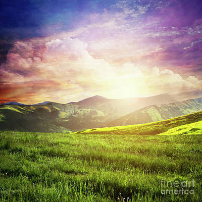 Photograph - Fairtytale Landscape With Green Grass, Mountains, Sunset Fantastic Sky. by Michal Bednarek
